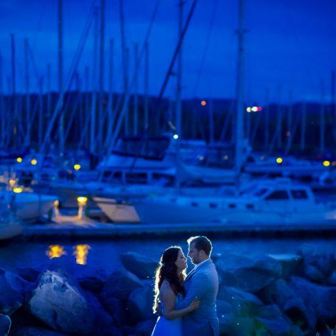 wedding blue hour boats