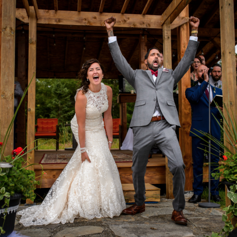 bride and groom celebrating at a halifax music festival wedding